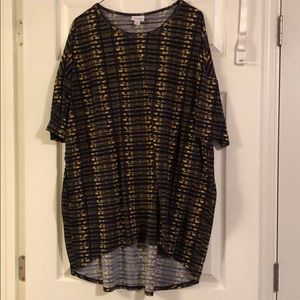 Lularoe Irma top. Navy gold pattern. Size XL.